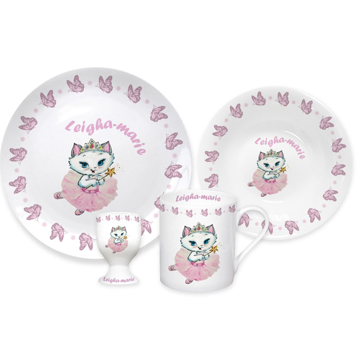 Personalised Nina Kitten Butterfly Breakfast Set