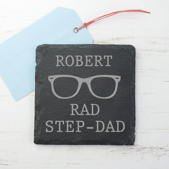Personalised Rad Step Dad Square Slate Coaster