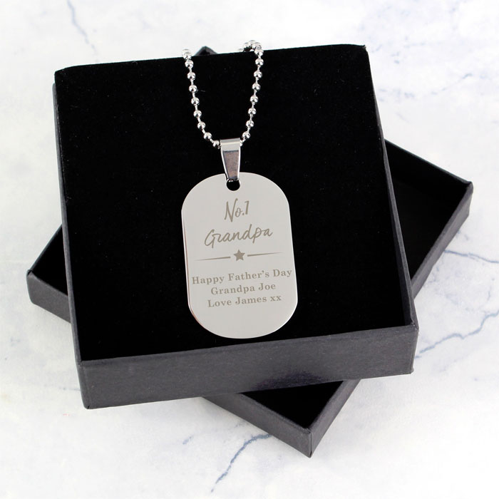 Personalised No1 Stainless Steel Dog Tag Necklace