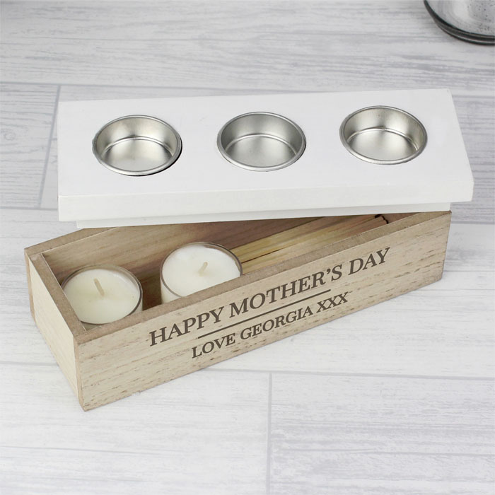 Personalised Wooden Triple Tea Light Box