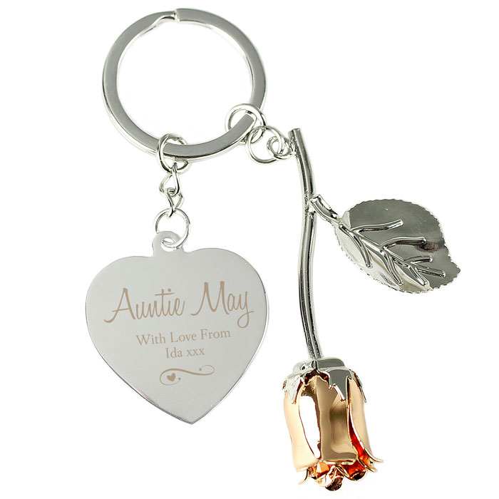 Personalised Silver Plated & Rose Gold Rose Keyring