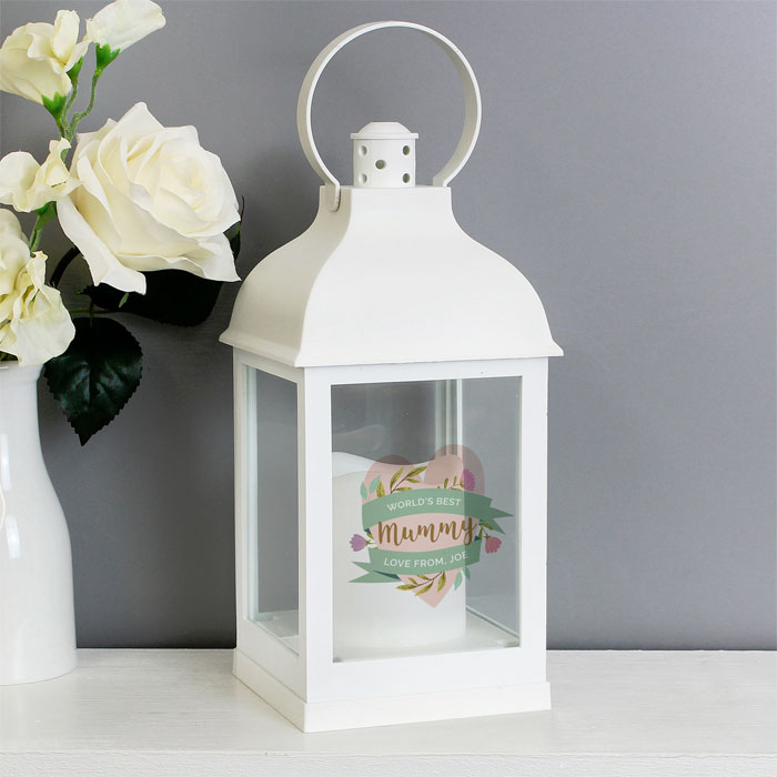 Personalised Floral Heart White Lantern