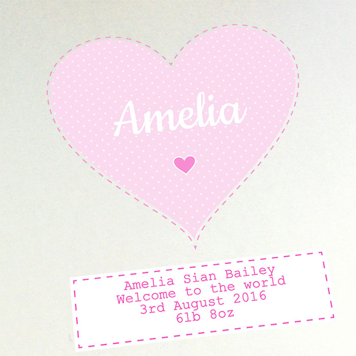 Personalised Stitch & Dot Baby Girl Album with Sleeves