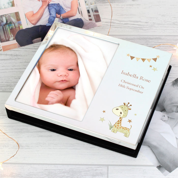 Personalised Hessian Giraffe 6x4 Photo Frame Album