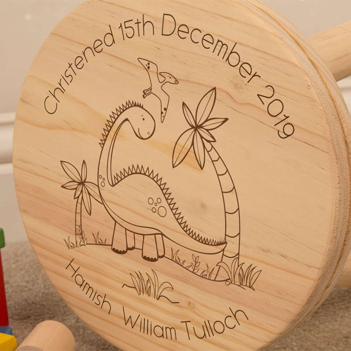 Personalised Engraved Dinosaur Wooden Stool