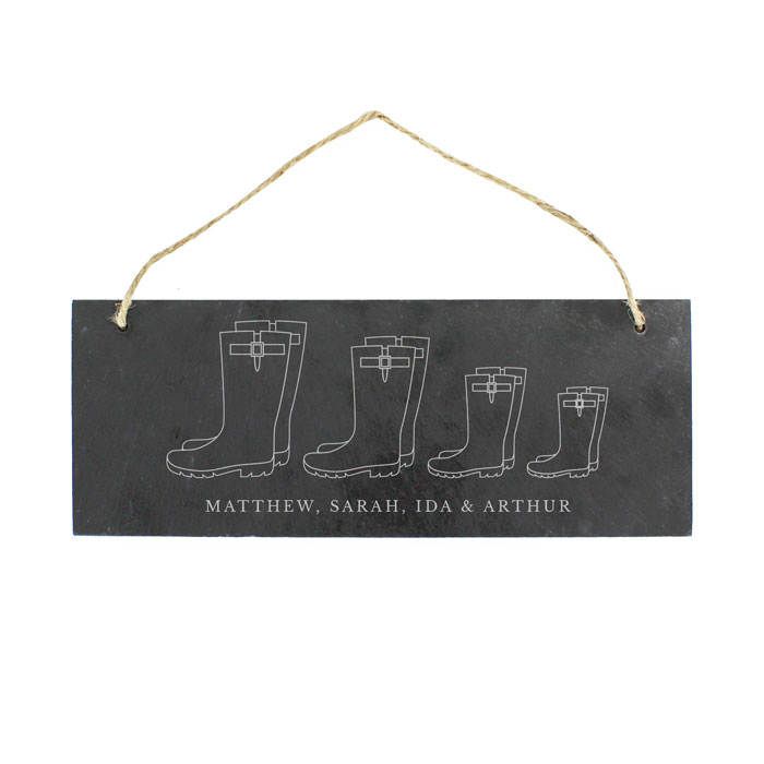 Personalised Welly Boot Family of Four Hanging Slate Plaque
