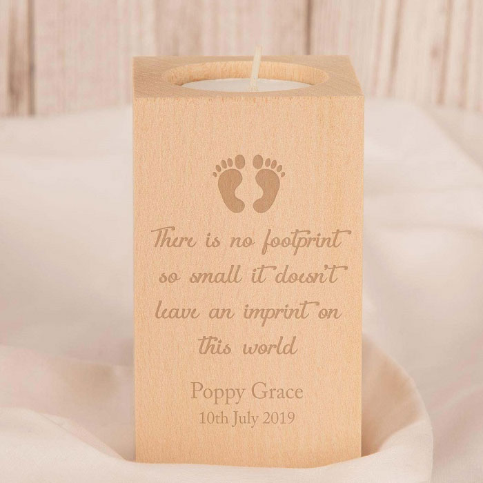 Baby Footprints Memorial Wooden Tealight Holder