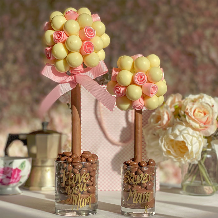 White Lindor Sweet Tree with Edible Pink Roses