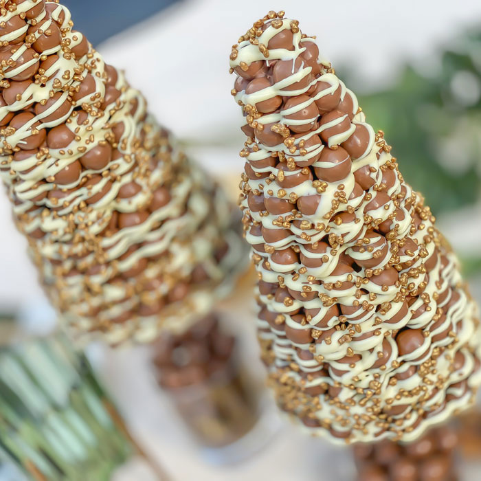 Malteser Conifer with Pink Drizzle & Sugar Pearls