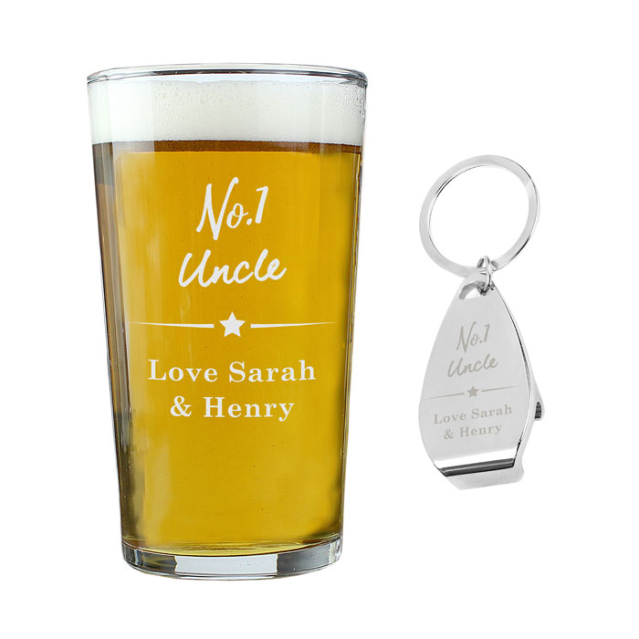 Personalised Number 1 Pint glass & Bottle Opener
