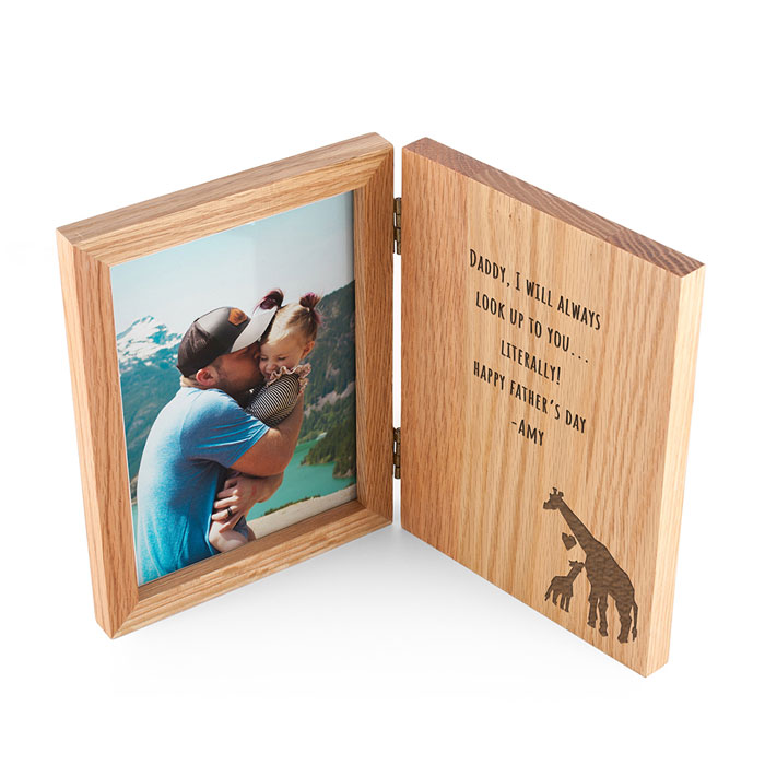 Engraved Fathers Day Giraffe Book Photo Frame