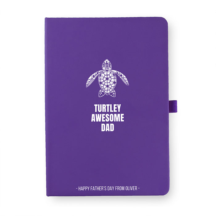 Personalised Turtley Awesome Dad A5 Notebook
