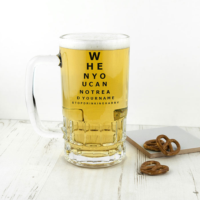 Opticians Chart Beer Glass Tankard