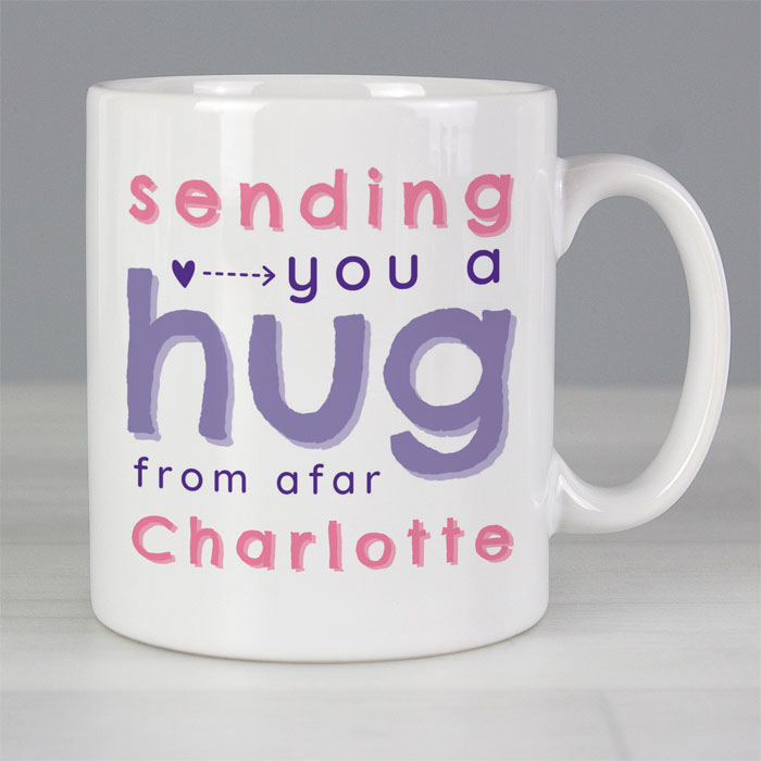 Personalised Pink Hug From Afar Mug
