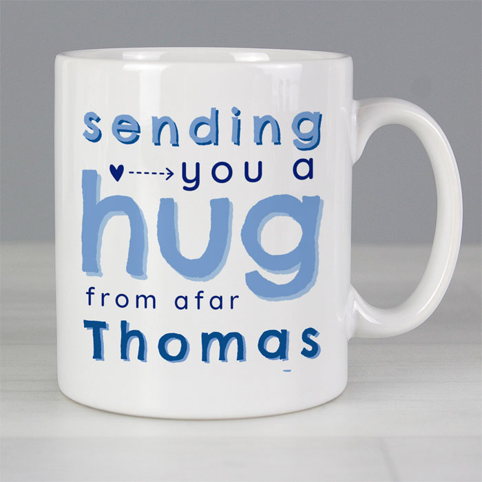 Personalised Blue Hug From Afar Mug
