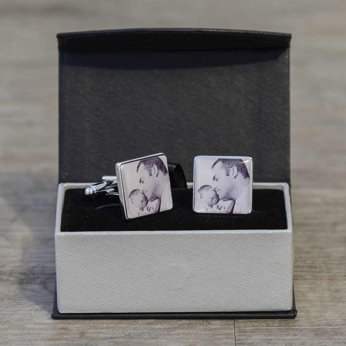 Silver Plated Personalised Photo Cufflinks