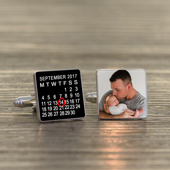 Personalised New Daddy Calendar Photo Cufflinks