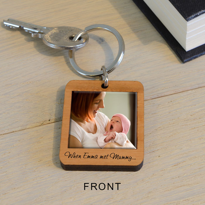 Personalised Wooden Photo Key Ring When Baby Met Mummy