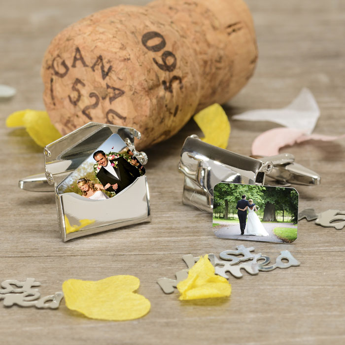 Silver Plated Envelope Photo Cufflinks