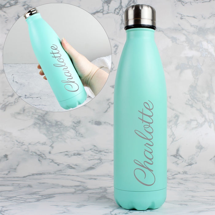 Personalised Mint Green Metal Insulated Drinks Bottle