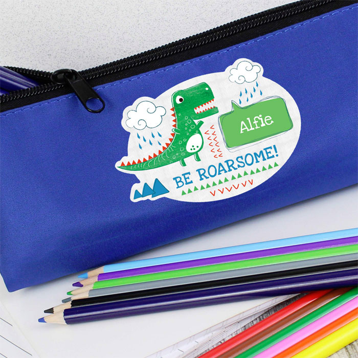 Boys Personalised Be Roarsome Dinosaur Blue Pencil Case