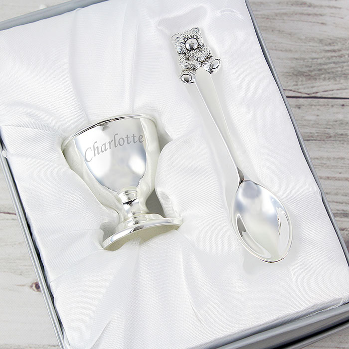 Silver Plated Engraved Egg Cup and Spoon