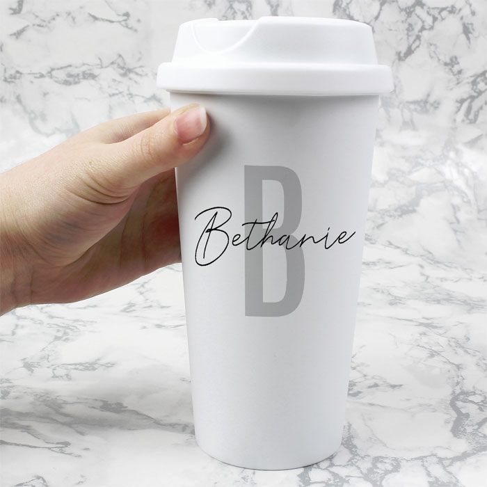 Personalised Initial & Name Insulated Travel Mug