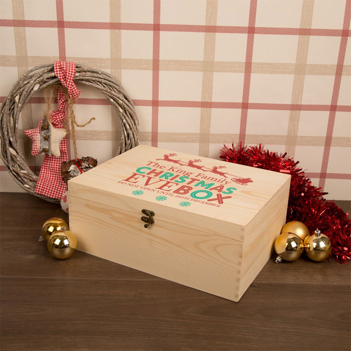 Personalised Family Christmas Eve Box Sleigh Design