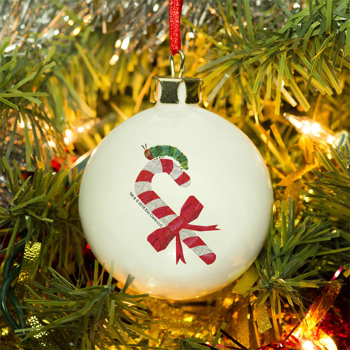 Hungry Caterpillar Personalised Candy Cane Bone China Bauble