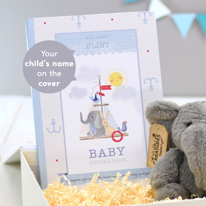 Baby Boy Record Book with Plush Elephant Toy