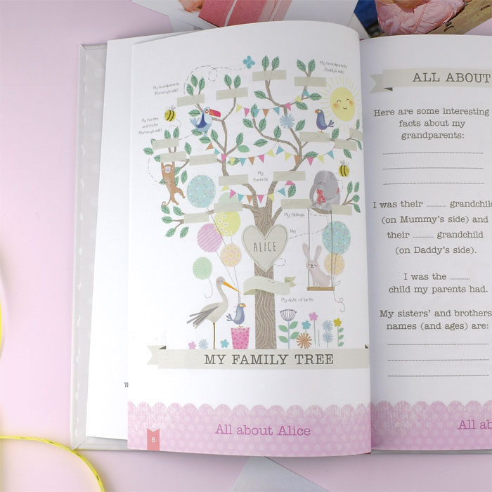 Baby Girl Record Book with Plush Elephant Toy