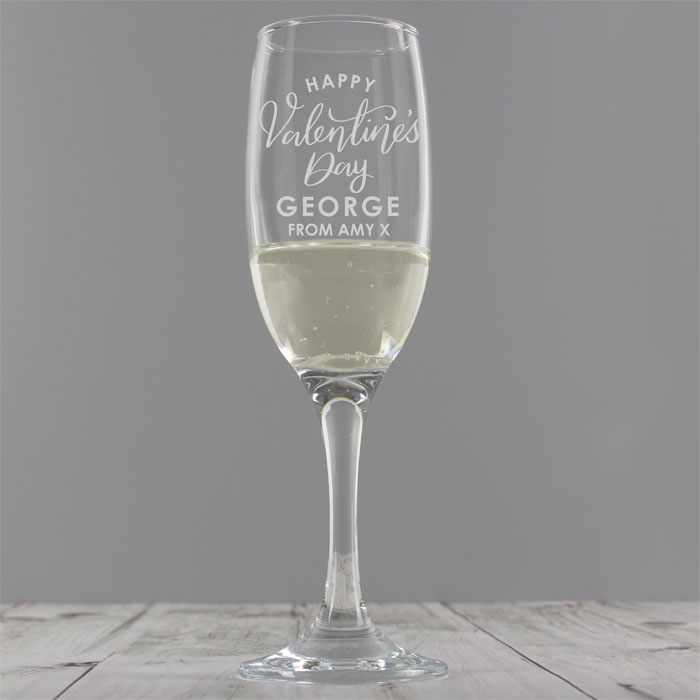 Personalised Valentines Day Flute Glass