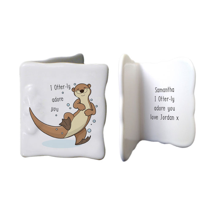 Personalised Otter ly Adore You China Message Card