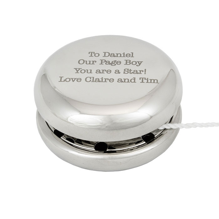 Silver Plated Engraved Yo Yo Childrens Gift
