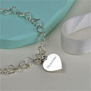 Solid Silver Linked Heart Bracelet