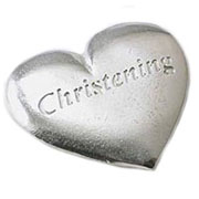 Pewter Christening Heart Token