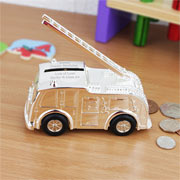 Engraved Fire Engine Moneybox