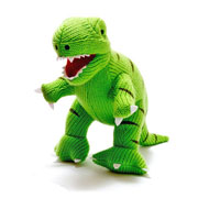 Best Years Green Knitted T-Rex Dinosaur Soft Baby Toy