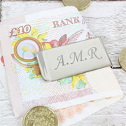 Silver Plated Engraved Money Clip