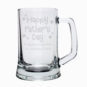 Happy Father's Day Engraved Stern Pint Glass Beer Tankard