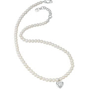 Freshwater Pearl and Silver Heart Necklace by D for Diamond