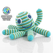 Pebble Fair Trade Crochet Octopus Blue Green Baby Rattle