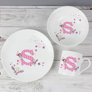 Fairy Initial Letter Personalised China Breakfast Set