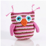 Pink Fair Trade Cotton Crochet Owl Rattle