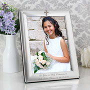 Personalised Engraved Silver Plated Cross Photo Frame 5 x 7