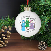Nativity While Shepherds Personalised Bauble