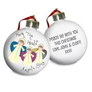 Personalised Nativity Hark the Herald Angels Tree Bauble