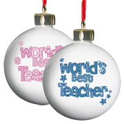 Worlds Best Teacher Personalised Bauble Pink or Blue