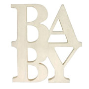Wooden 'BABY' sign from East of India