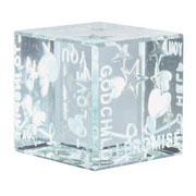 Godchild Promises Glass Cube With Free Spaceform Gift Bag
